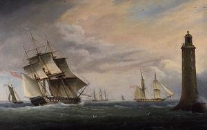 Neo-Classical painting reproductions: A Frigate and a Naval Brig passing the Eddystone Lighthouse