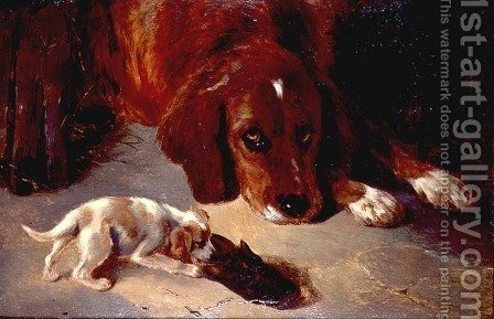 George W. Horlor: An Inquisitive Puppy - reproduction oil painting