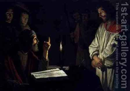 Christ Before Caiaphas by (after) Honthorst, Gerrit van - Reproduction Oil Painting