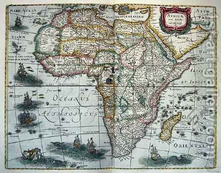 Map of Africa from Nova Tabula Africae by Henricus Hondius - Reproduction Oil Painting