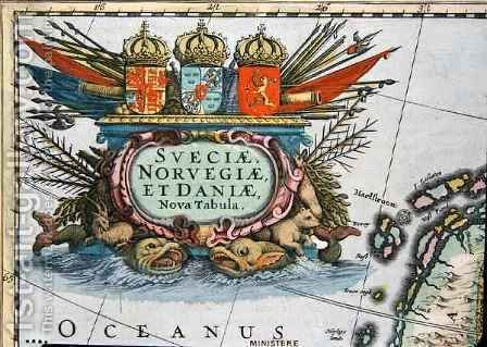 Cartouche from a map of Sweden Norway and Denmark by Henricus Hondius - Reproduction Oil Painting