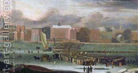 A Frost Fair on the Thames at Temple Stairs by Abraham Danielsz Hondius - Reproduction Oil Painting