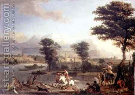 The Stag Hunt by Abraham Danielsz Hondius - Reproduction Oil Painting