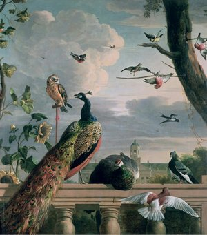 Famous paintings of Palisades: Palace of Amsterdam with Exotic Birds