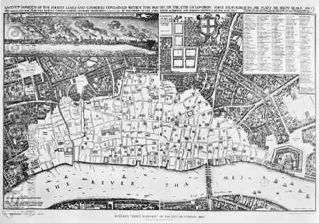 Map of the area of London burnt out by the Great Fire of 1666