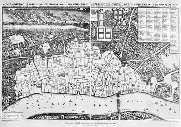 Huge version of Map of the area of London burnt out by the Great Fire of 1666