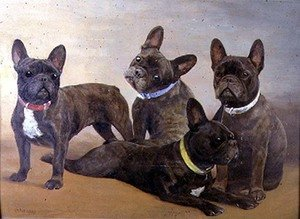 Realism painting reproductions: Four French Bulldogs