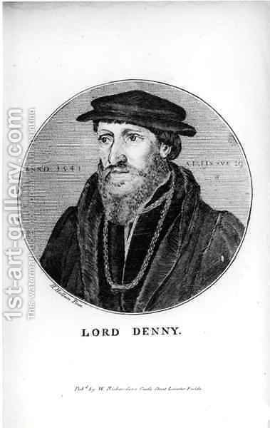 Portrait of Sir Anthony Denny 1501-49 by (after) Holbein the Younger, Hans - Reproduction Oil Painting