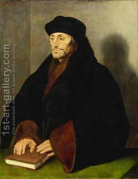 Erasmus of Rotterdam by (after) Holbein the Younger, Hans - Reproduction Oil Painting