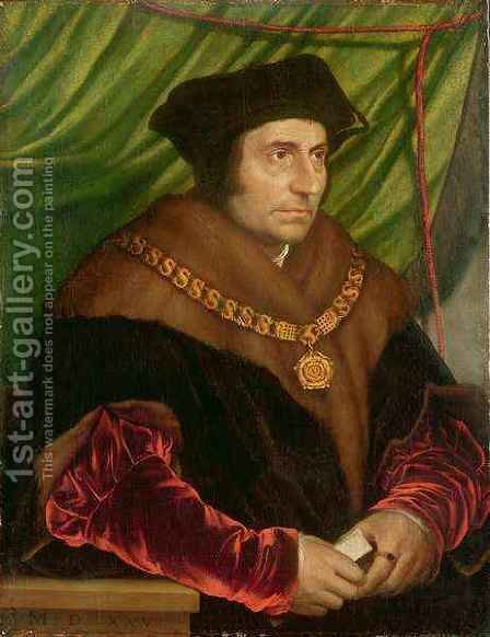 Portrait of Sir Thomas More 1478-1535 2 by (after) Holbein the Younger, Hans - Reproduction Oil Painting