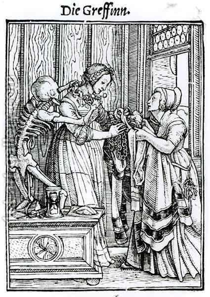 Death and the Mistress from The Dance of Death by (after) Holbein the Younger, Hans - Reproduction Oil Painting