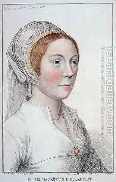 Portrait of Catherine Howard 1520-42 by (after) Holbein the Younger, Hans - Reproduction Oil Painting