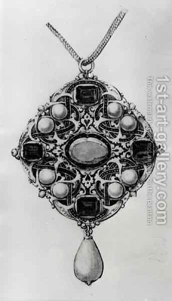 Design for a pendant set with a ruby sapphires and pearls by (after) Holbein the Younger, Hans - Reproduction Oil Painting