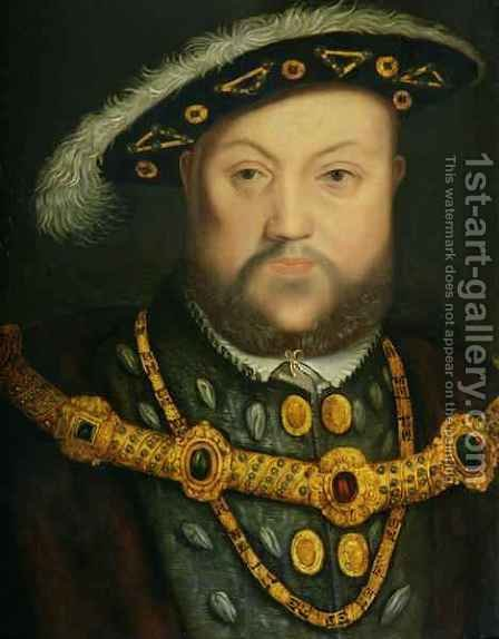 Portrait of Henry VIII 1491-1547 in a Jewelled Chain and Fur Robes by (after) Holbein the Younger, Hans - Reproduction Oil Painting