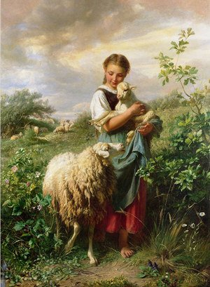 Famous paintings of Domestic Animals: The Shepherdess