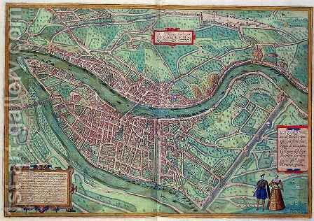 Map of Lyon from Civitates Orbis Terrarum by (after) Hoefnagel, Joris - Reproduction Oil Painting
