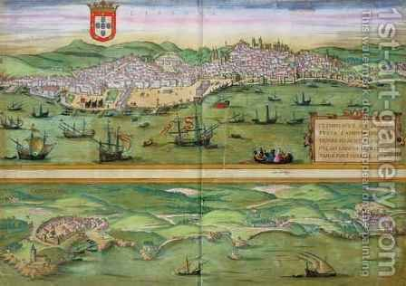 Map of Lisbon and Cascais from Civitates Orbis Terraru by (after) Hoefnagel, Joris - Reproduction Oil Painting