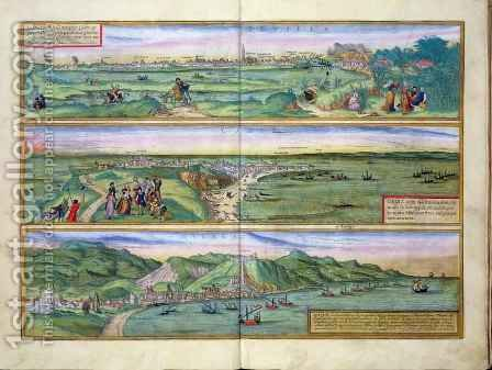 Map of Seville Cadiz and Malaga from Civitates Orbis Terrarum by (after) Hoefnagel, Joris - Reproduction Oil Painting