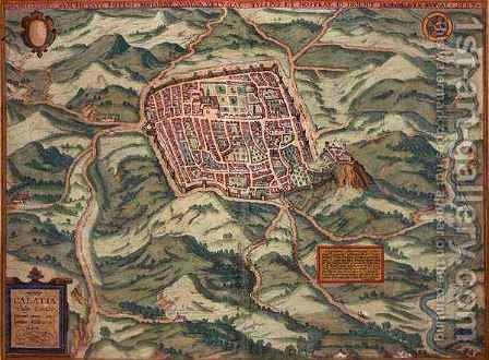 Map of Caiazzo from Civitates Orbis Terrarum by (after) Hoefnagel, Joris - Reproduction Oil Painting
