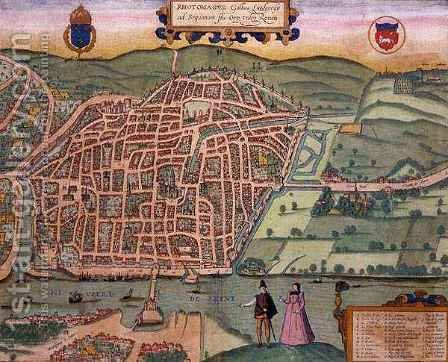 Map of Rouen from Civitates Orbis Terrarum by (after) Hoefnagel, Joris - Reproduction Oil Painting
