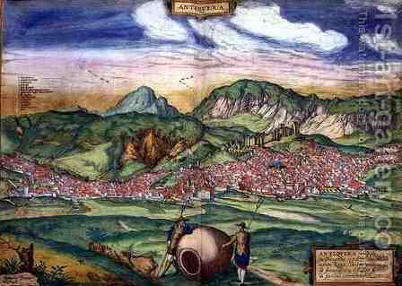 Map of Antiquera from Civitates Orbis Terrarum by (after) Hoefnagel, Joris - Reproduction Oil Painting