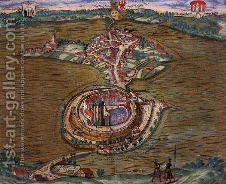 Map of Ratzeburg from Civitates Orbis Terrarum by (after) Hoefnagel, Joris - Reproduction Oil Painting