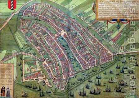 Map of Amsterdam from Civitates Orbis Terrarum by (after) Hoefnagel, Joris - Reproduction Oil Painting