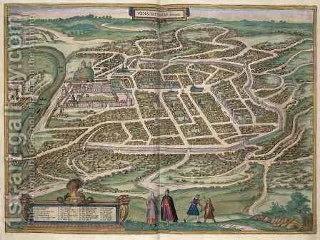 Map of Vilnius Lithuania from Civitates Orbis Terrarum by (after) Hoefnagel, Joris - Reproduction Oil Painting