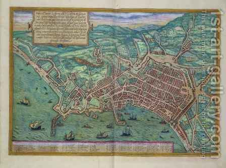 Map of Naples from Civitates Orbis Terrarum by (after) Hoefnagel, Joris - Reproduction Oil Painting