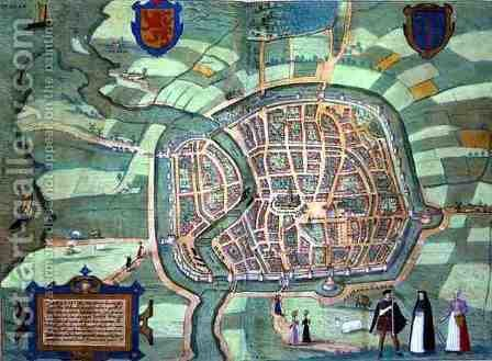 Map of Haarlem from Civitates Orbis Terrarum by (after) Hoefnagel, Joris - Reproduction Oil Painting