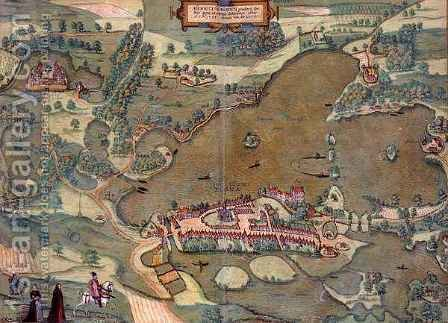 Map of Plon from Civitates Orbis Terrarum by (after) Hoefnagel, Joris - Reproduction Oil Painting