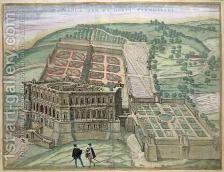 View of the Villa Farnese and the Gardens by (after) Hoefnagel, Joris - Reproduction Oil Painting