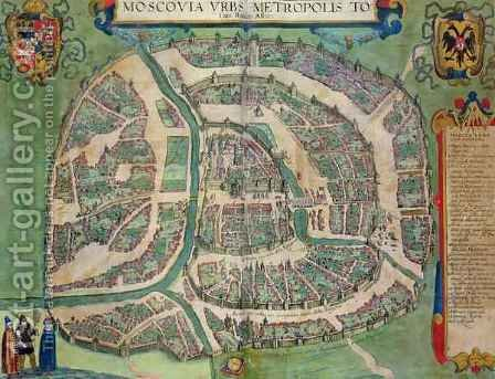 Map of Moscow from Civitates Orbis Terrarum 2 by (after) Hoefnagel, Joris - Reproduction Oil Painting