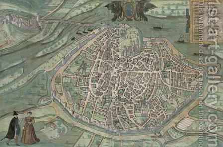 Map of Avignon from Civitates Orbis Terrarum by (after) Hoefnagel, Joris - Reproduction Oil Painting