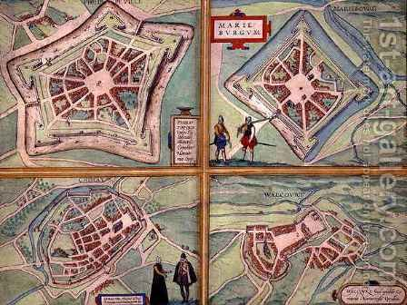 Maps of Philippeville Mariembourg Chimay and Walcourt from Civitates Orbis Terrarum by (after) Hoefnagel, Joris - Reproduction Oil Painting