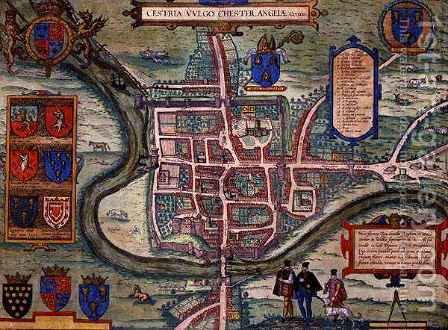 Map of Chester from Civitates Orbis Terrarum by (after) Hoefnagel, Joris - Reproduction Oil Painting