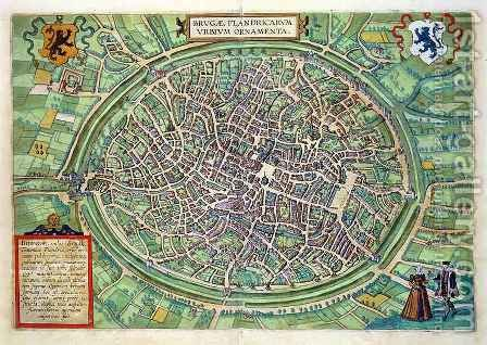 Town Plan of Bruges from Civitates Orbis Terrarum by (after) Hoefnagel, Joris - Reproduction Oil Painting