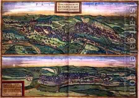 Map of Prague and Egg from Civitates Orbis Terrarum by (after) Hoefnagel, Joris - Reproduction Oil Painting