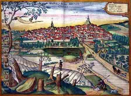 Map of Marienburg from Civitates Orbis Terrarum by (after) Hoefnagel, Joris - Reproduction Oil Painting
