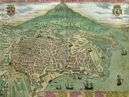 Map of Catania from Civitates Orbis Terrarum by (after) Hoefnagel, Joris - Reproduction Oil Painting