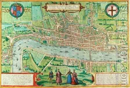 Map of London from Civitates Orbis Terrarum 4 by (after) Hoefnagel, Joris - Reproduction Oil Painting