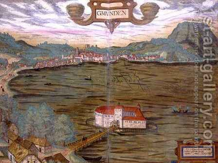 Map of Gmunden from Civitates Orbis Terrarum by (after) Hoefnagel, Joris - Reproduction Oil Painting