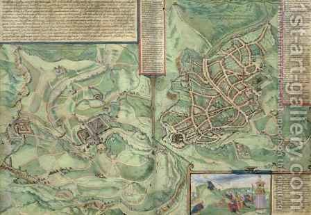 Map of Jerusalem from Civitates Orbis Terrarum 2 by (after) Hoefnagel, Joris - Reproduction Oil Painting
