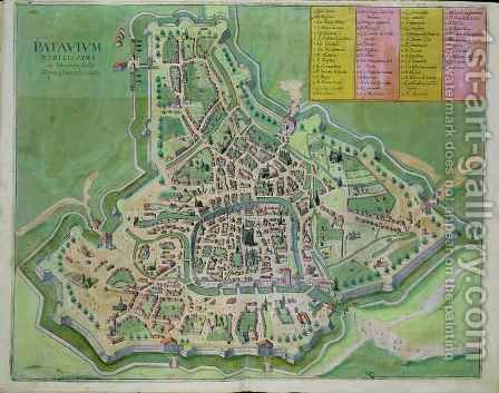 Map of Padua from Civitates Orbis Terrarum by (after) Hoefnagel, Joris - Reproduction Oil Painting