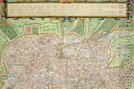 Map of Rome from Civitates Orbis Terrarum 4 by (after) Hoefnagel, Joris - Reproduction Oil Painting