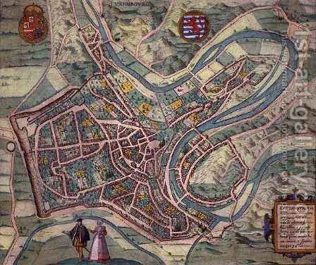 Map of Luxembourg from Civitates Orbis Terrarum by (after) Hoefnagel, Joris - Reproduction Oil Painting