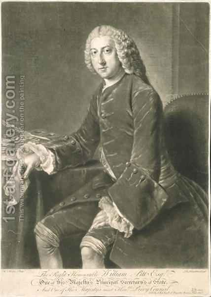 William Pitt Principal Secretary of State by (after) Hoare, William, of Bath - Reproduction Oil Painting