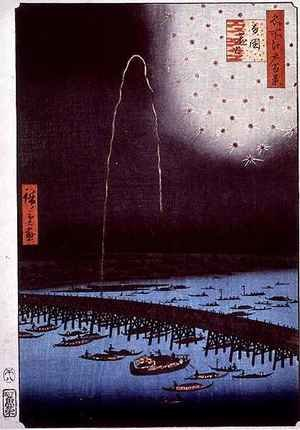 Famous paintings of Fireworks: Fireworks at Ryogoku from the series One Hundred Famous Views of Edo