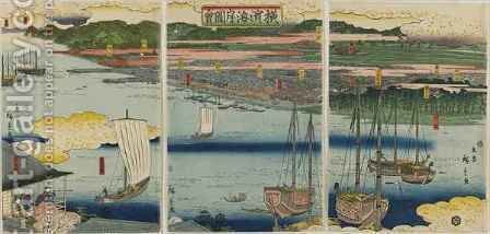 Picture of the Coast of Yokohama Edo period by Hiroshige II (Ichiusai Shigenobu) - Reproduction Oil Painting