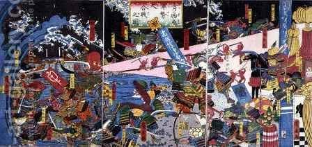 Parody of a Battle Scene depicting the battle of vegetables and fish by Hirokage - Reproduction Oil Painting